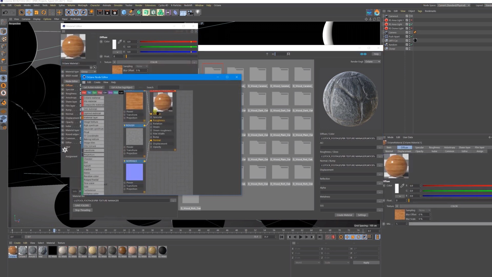 PBR材质管理导入C4D插件TGS Texture Manager